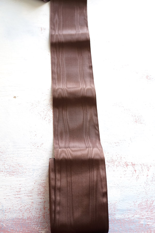 ヴィンテージモアレのレーヨンリボンブラウン W7.3×100cm 1950年代頃 gs-1226