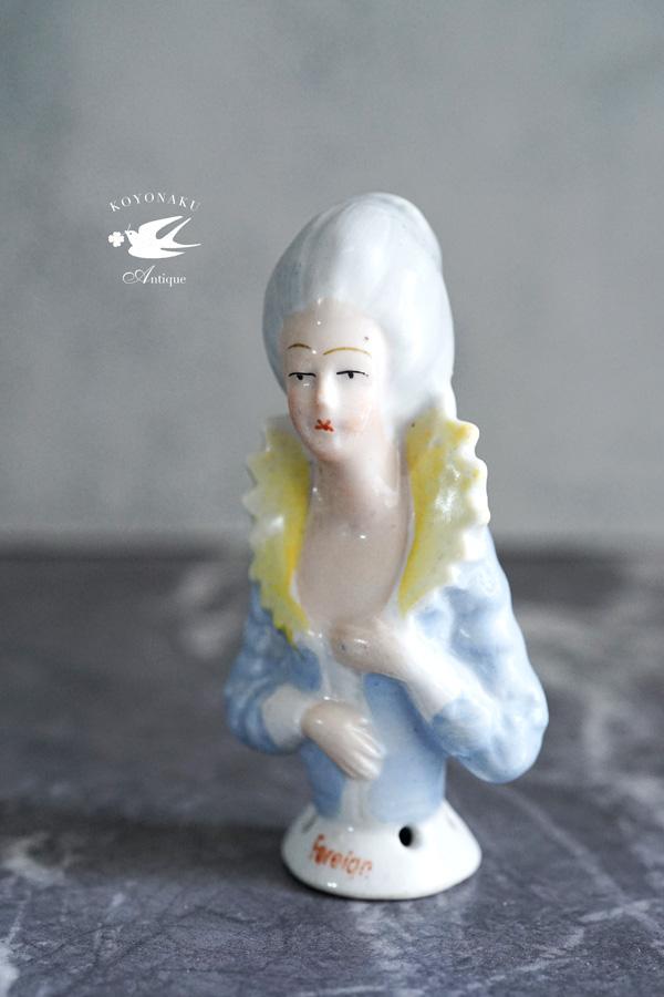 アンティークハーフドール ブルーグレーのドレス7.5cm gt-837