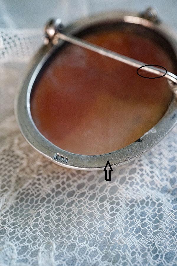 アンティークシェルカメオブローチ4×3.2cm ga-849