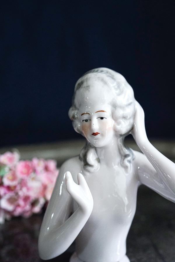 アンティークハーフドール美しい女性 9.7cm gt-839